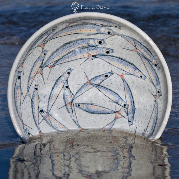 Stoneware plate with Alexander Reichardt's fish design