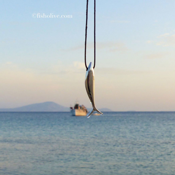 Silver fish pendant by Fish & Olive